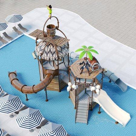 castello acquatico isola dei pirati